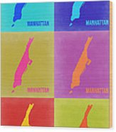 Manhattan Pop Art Map 3 Wood Print