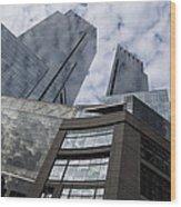 Manhattan Sky And Skyscrapers Wood Print