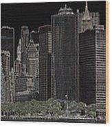 Manhattan Skyline Abstract Wood Print