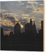 Manhattan Skyline At Sunset Wood Print
