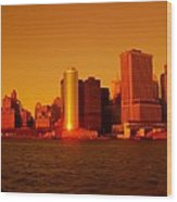 Manhattan Skyline At Sunset Wood Print