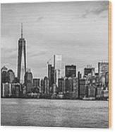 Manhattan Skyline Black And White Wood Print