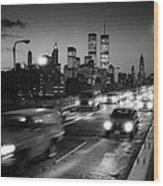 Manhattan Skyline Dusk 1980s Wood Print