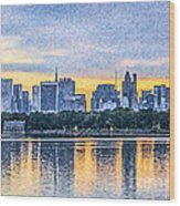 Manhattan Skyline From Central Park Reservoir Nyc Usa Wood Print