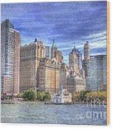 Manhattan Skyline From Hudson River Wood Print by Juli Scalzi