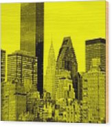 Manhattan Skyline In Yellow Wood Print