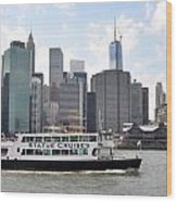 Manhattan Skyline With Boat Wood Print