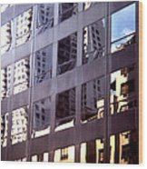 Manhattan Skyscraper Reflection Wood Print