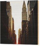 Manhattanhenge Sunset And The Chrysler Building  Wood Print