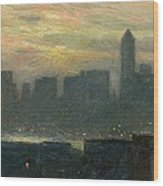 Manhattans Misty Sunset Wood Print