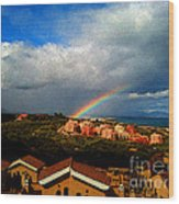 Spanish Landscape Rainbow And Ocean View Wood Print