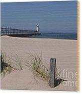 Manistee Harbor Lighthouse From Beach Wood Print