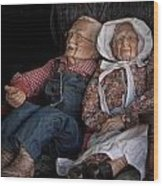 Mannequin Old Couple In Shop Window Display Color Photo Wood Print