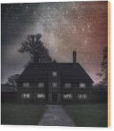 Manor At Night Wood Print