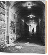Man's Silhouette In Urban Tunnel Black And White Wood Print