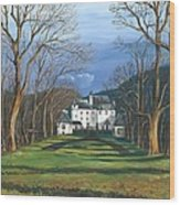 Mansion In The Woods Wood Print