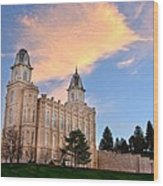 Manti Temple Morning Wood Print