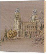 Manti Utah Lds Temple Wood Print