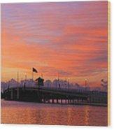 Mantoloking Bridge At Dawn Wood Print