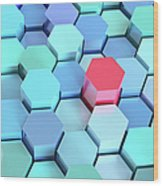 Many Blue Hexagons, Various Heights Wood Print