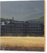 Many Glacier Hotel Sunrise Panorama Wood Print
