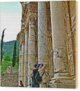 Many Photographers At Library Of Celsus-ephesus Wood Print