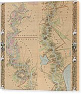 Map Depicting Plantations On The Mississippi River From Natchez To New Orleans Wood Print