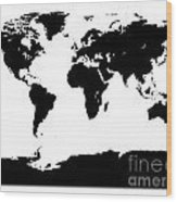 Map In Black And White Wood Print