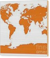 Map In Orange Wood Print