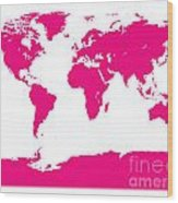 Map In Pink Wood Print