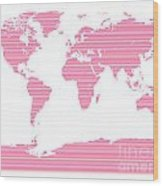 Map In Pink Stripes Wood Print