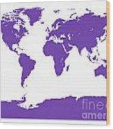 Map In Purple Wood Print