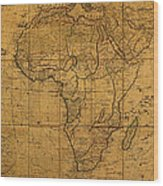 Map Of Africa Circa 1829 On Worn Canvas Wood Print