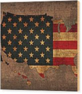 Map Of America United States Usa With Flag Art On Distressed Worn Canvas Wood Print