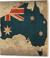 Map Of Australia With Flag Art On Distressed Worn Canvas Wood Print