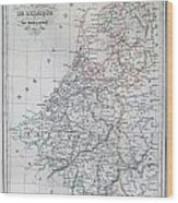 Map Of Belgium And Holland Or The Netherlands Wood Print