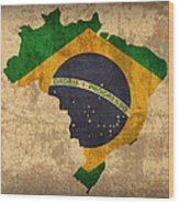 Map Of Brazil With Flag Art On Distressed Worn Canvas Wood Print