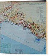 Map Of Cinque Terre Wood Print