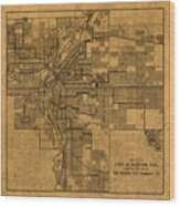 Map Of Denver Colorado City Street Railroad Schematic Cartography Circa 1903 On Worn Canvas Wood Print