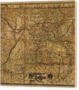 Map Of Denver Rio Grande Railroad System Including New Mexico Circa 1889 Wood Print