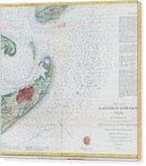 Map Of Galveston City And Harbor Texas Wood Print