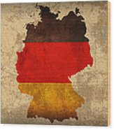 Map Of Germany With Flag Art On Distressed Worn Canvas Wood Print