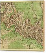 Map Of Grand Canyon National Park Wood Print