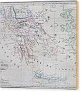 Map Of Greece Wood Print