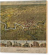 Map Of Houston Texas Circa 1891 On Worn Distressed Canvas Wood Print