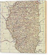 Map Of Illinois 1881 Wood Print