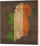 Map Of Ireland With Flag Art On Distressed Worn Canvas Wood Print