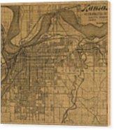 Map Of Kansas City Missouri Vintage Old Street Cartography On Worn Distressed Canvas Wood Print