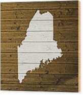 Map Of Maine State Outline White Distressed Paint On Reclaimed Wood Planks. Wood Print