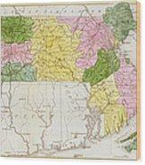 Map Of Massachusetts, From Historical Collections Of Massachusetts, By John Warren Barber, 1839 Wood Print